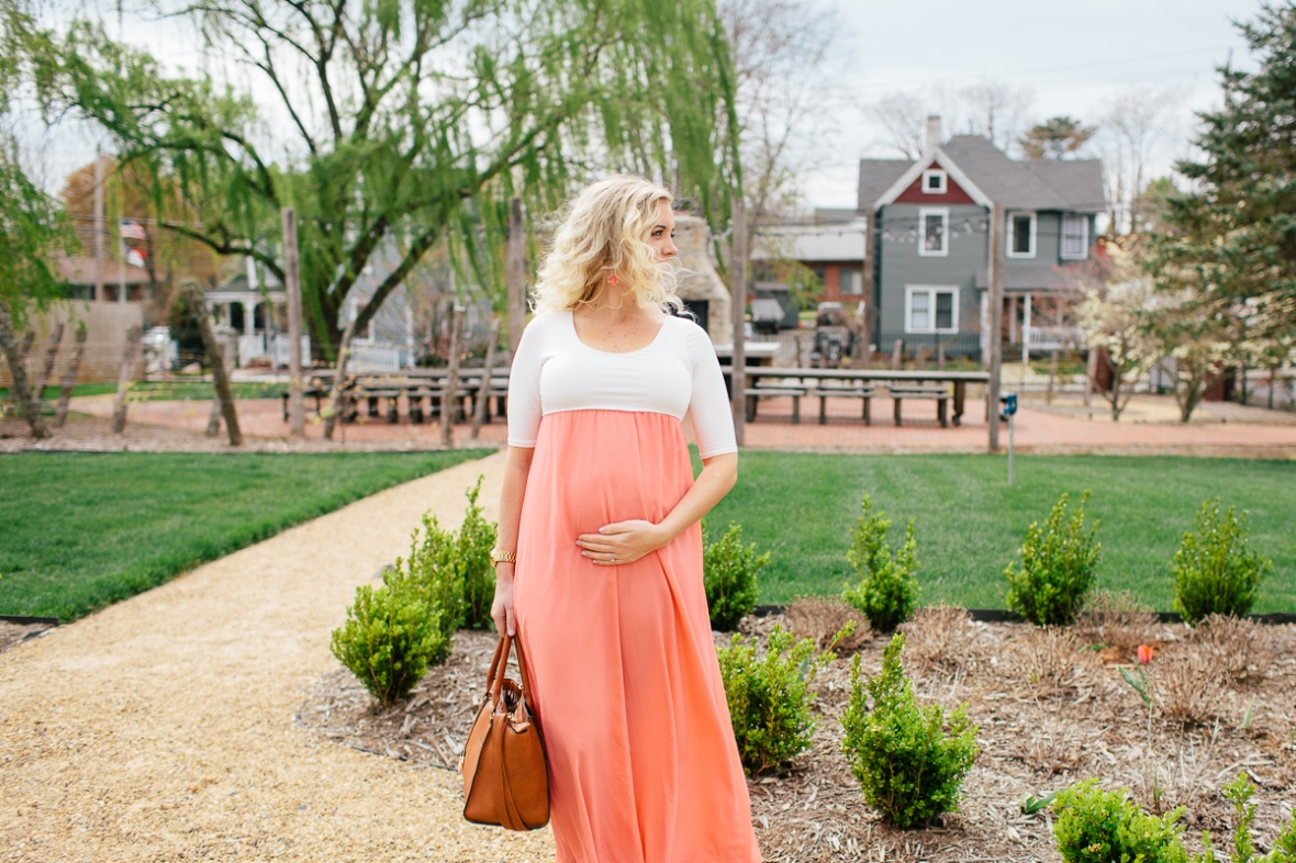 c7e08840f9b0c This dress is called the Coral Chiffon Colorblock Maternity Maxi Dress and  I am wearing a size medium. It comes in 10 different colors, and I love  them all!